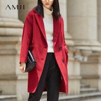 【开学季 预估券后价:566元】Amii极简森系赫本羊毛混纺毛呢外套女2018冬新长款翻领单面呢大衣