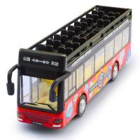 1:32多彩音乐灯光回力双层露天巴士公交车合金车模型儿童玩具车
