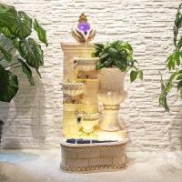 欧式喷泉招财鱼缸装饰假山流水结婚礼品加湿器创意大型落地摆件 白色 80378米白色