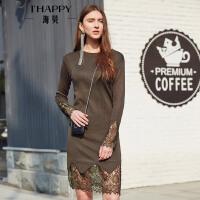 海贝2017秋季新款女装 圆领甜美蕾丝拼接修身显瘦长袖针织连衣裙