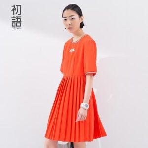 初语夏季上新 小字母撞色圆领字母连衣裙短袖女8622432027