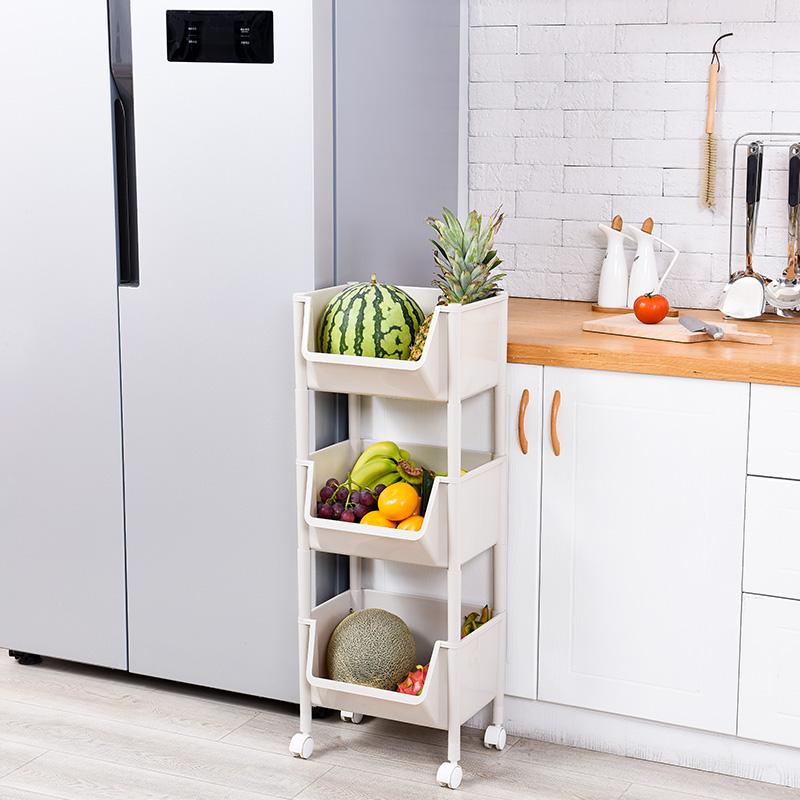 蔬菜置物架 落地放菜架子多层家用厨房用品多功能菜篮子果蔬收纳筐抖音同款  时尚简约  收纳设计