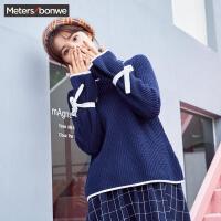 美特斯邦威针织衫女冬季新款韩版蝴蝶结喇叭袖半高领毛衣衫