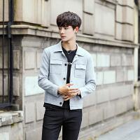 男士夹克外套新款帅气上衣服韩版修身潮青少年学生外衣 翻领