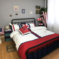 英伦几何图案被套蓝色床单欧美风纯棉床上用品四件套