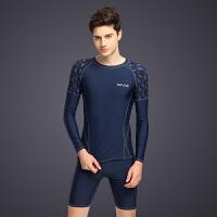 2018新款男士泳衣防晒分体加大码泳装男款套装速干长袖短袖上衣五分平角裤