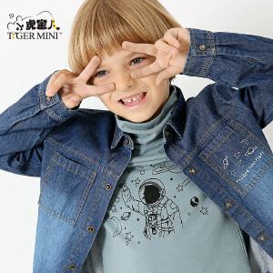 小虎宝儿童装男童衬衫长袖2018春季新款韩版纯棉儿童上衣中大童