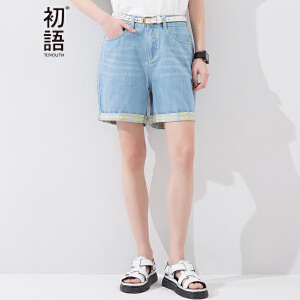 初语夏季新款 凤梨刺绣袋布撞色卷边裤脚牛仔短裤女8621835034