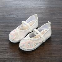 童鞋女童鞋透气网布鞋中国风汉服鞋老北京儿童绣花鞋凉鞋舞蹈鞋夏 米白色 2034