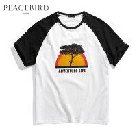 太平鸟男装 夏季男士短袖T恤胶印潮男士韩版宽松衣服B1DA72112