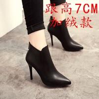 短靴女秋冬英伦风女靴尖头靴子加绒高跟性感细跟踝靴女后拉链女鞋