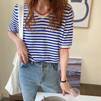 俏依惠针织衫女短袖V领上衣夏季新款百搭显瘦条纹打底衫薄款t恤