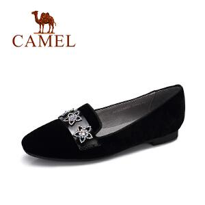 Camel/骆驼女鞋 秋季新款 优雅水钻单鞋女舒适平底方头单鞋