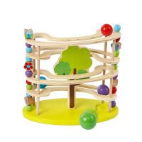 高品质 大颗粒动物滚珠塔轨道早教木制滑滑梯轨道儿童益智玩具