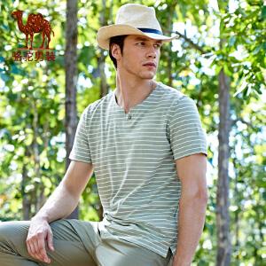 骆驼男装 夏季新款圆领修身印花条纹日常休闲男士短袖T恤衫