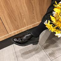 春秋英伦风女鞋平底复古学院风chic单鞋圆头系带黑色ins小皮鞋