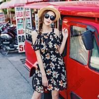 夏季波西米亚海边度假短裙沙滩裙雪纺吊带连衣裙海滩裙女 黑色