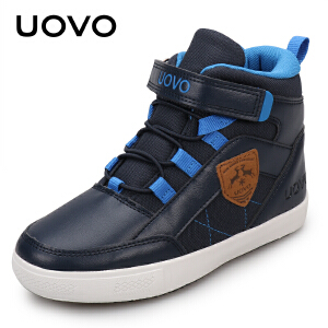 UOVO 童鞋 秋季新款男童女童搭扣休闲鞋 中大儿童高帮学生鞋 塞维利亚