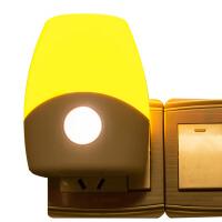 银之优品 LED小夜灯 卧室床头睡眠灯宝宝起夜灯 罗绚款声光控黄光
