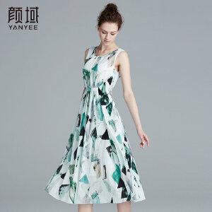 颜域品牌女装2017夏季新款知性优雅X型修身碎褶无袖印花连衣裙女