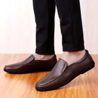 牛皮皮鞋男鞋豆豆鞋休闲鞋懒人低帮套脚鞋新品