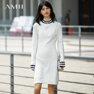 Amii[极简主义]2017秋装新款修身撞色罗纹插肩针织连衣裙11744233