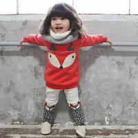 货到付款Yinbeler女童婴儿童装加绒卫衣二件套女宝宝冬装套装加厚棉衣冬季1-2-3岁小狐狸套装
