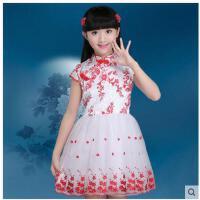 青花瓷儿童旗袍公主连衣裙 女童唐装中式礼服裙 演出服儿童裙子装支持礼品卡支付