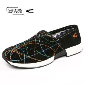 骆驼动感男士牛反绒皮舒适潮流休闲鞋透气板鞋