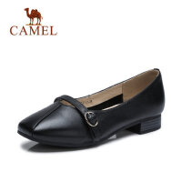 camel 骆驼女鞋春新款女士平底上班鞋低跟妈妈鞋舒适小皮鞋方头单鞋