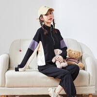 【2.5折价99.75元】唐狮春秋季新款品牌运动套装女运动服卫衣卫裤两套时尚休闲