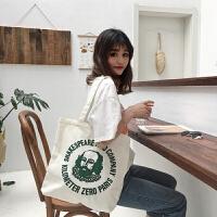 韩简约字母港风帆布袋女包购物袋单肩学生帆布包大包包