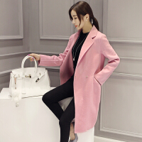 【支持礼品卡支付】春季新款韩版学生宽松毛呢外套修身显瘦长款呢子大衣女17LL925