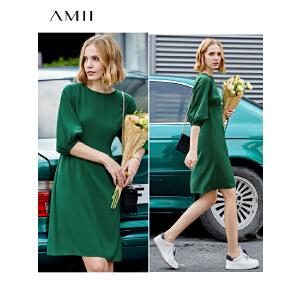 【到手价236.9元】Amii极简气质韩版灯笼袖中袖连衣裙2019春修身纯色通勤连衣裙女