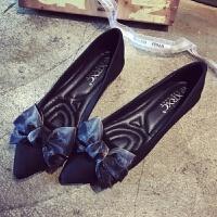 新款韩版浅口尖头平底单鞋女豆豆鞋孕妇鞋四季鞋大码女鞋黑色