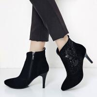 娜箐箐秋冬新款牛皮磨砂尖头细跟短靴女鞋高跟真皮骑士靴女靴