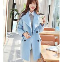 外套女装 新款韩版修身加厚毛呢外套女中长款显瘦学生呢子大衣
