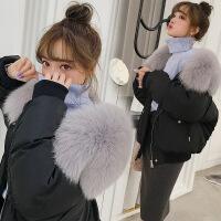 №【2019新款】冬天美女穿的2018韩国羽绒服女短款加厚宽松大毛领派克飞行夹克外套