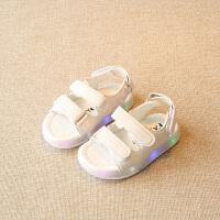 春夏新品婴儿凉鞋1-3岁防滑软底男童包头宝宝儿童鞋小白鞋女孩带亮灯女童卡通可爱沙滩鞋休闲运动机能鞋