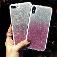 韩风奢华渐变闪粉 苹果x手机壳全包iphone7防摔套8x软6plus仙女款 苹果X 渐变粉色