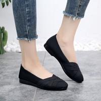 老北京女平底单鞋百搭浅口布鞋黑色上班工作鞋舒适透气防滑妈妈鞋