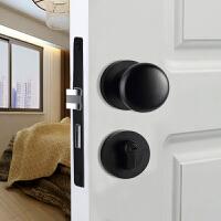 黑色静音门锁现代简约仿古球形卧室房美式卫生间门把手锁 35-50mm 通用型 带钥匙