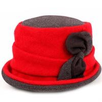 女秋冬季卷边贝雷帽蝴蝶结保暖帽渔夫帽盆帽