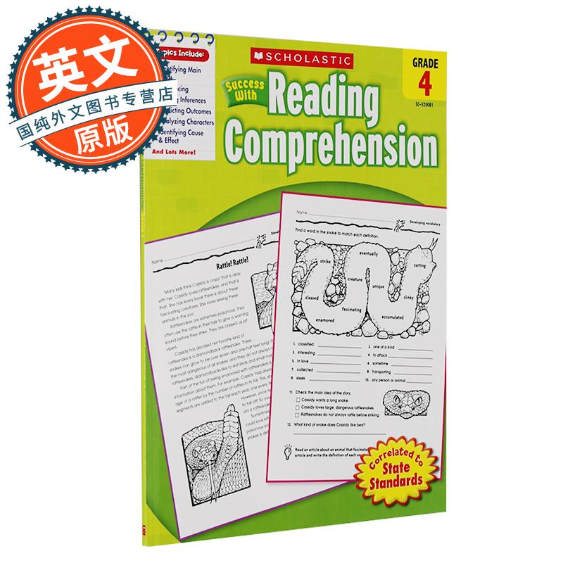 Scholastic Success with Reading Comprehension, Grade 4 学乐成功系列:四年级阅读理解【英文原版】 原版进口 放心订购