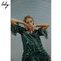 【限时一口价89元】全场叠加100元券Lily新款女装荷叶边拼接雪纺衫117349C8936