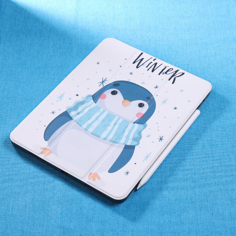 2018新款ipad pro 11保护套苹果平板电脑皮套pro12.9英寸网红卡通全包风仙女磁 新Pro12.9寸全面屏 小企鹅