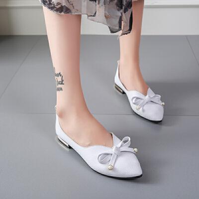 2019春季新款小单鞋女平底低跟女鞋浅口尖头瓢鞋女蝴蝶结工作鞋女