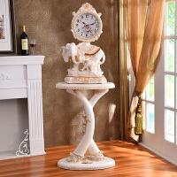 欧式客厅落地座钟摆件大象电视柜新居装饰品奢华仿古钟表立钟大号 12英寸