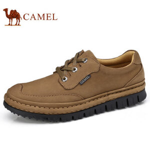 camel 骆驼男鞋 秋季上新手工缝磨砂软牛皮耐磨防滑日常休闲鞋