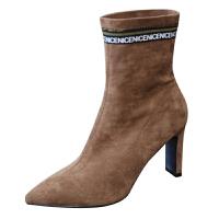 高跟女靴2018韩版尖头网红时尚字母驼色中筒靴粗跟短靴秋冬款